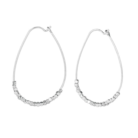 Iron Seeds Oval Hoop Dangle Earrings