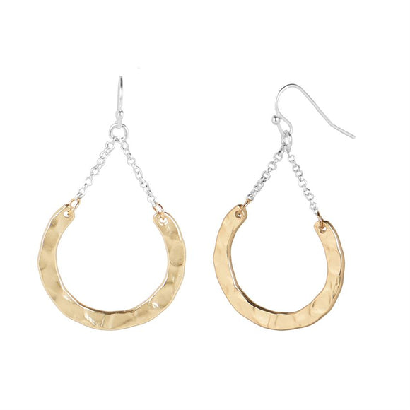 Disc Dangle with Chain Earrings