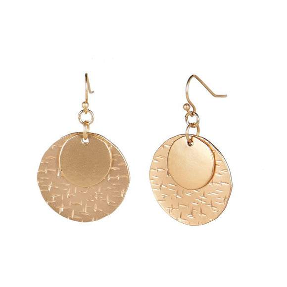 Stacked Moon Dangle Gold Earrings