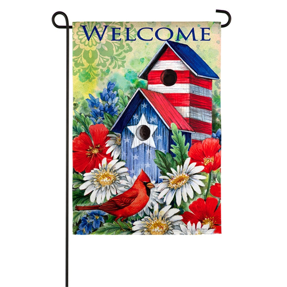 Garden Flag Patriotic Birdhouse and Cardinal Suede