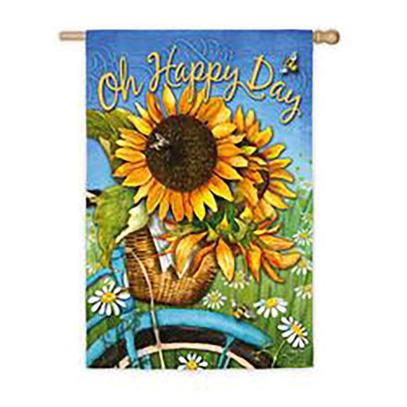House Flag Happy Day Sunflowers Suede