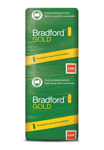 Bradford Gold Ceiling Insulation Batts - R3.0 - 1160 x 580mm - 10.8m²/pack - Patnicar Insulation
