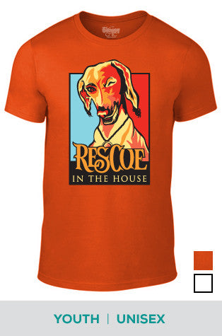 Rescue in the House (Dog) Cotton T-shirt in Unisex and Youth