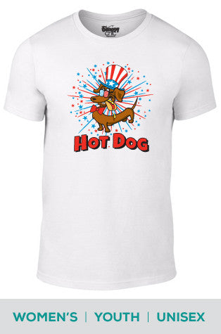 Hot Dog! Patriotic Dachshund Cotton T-shirt