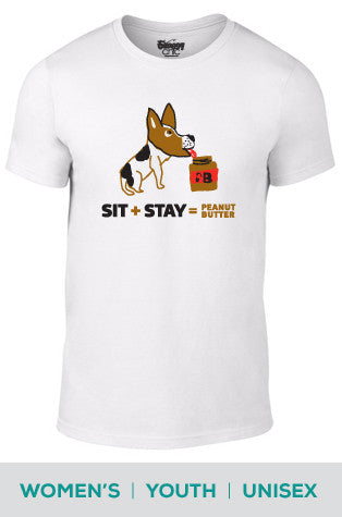 Sit + Stay = Peanut Butter (Dog) Cotton T-shirt