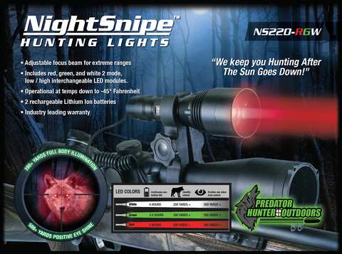 NightSnipe NS220 Adjustable Beam Light RGW
