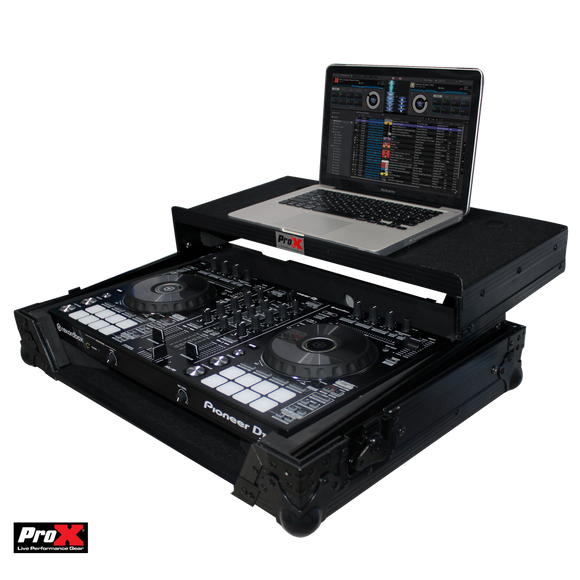 PROX PIONEER DDJ-SR2/DDJ-RR FLIGHT CASE W/ LAPTOP SHELF - BLACK