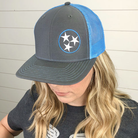 Tri-Star Hat Gray & Blue