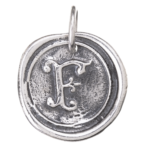 Waxing Poetic Round Insignia Initial Charm