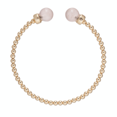 enewton Classic Gold 3 mm Bead Cuff - Rose Quartz