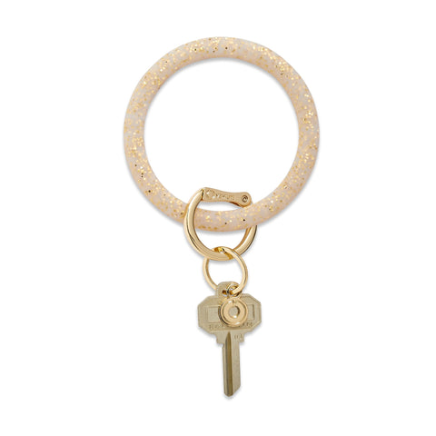 Big O Silicone Key Ring - Gold Confetti