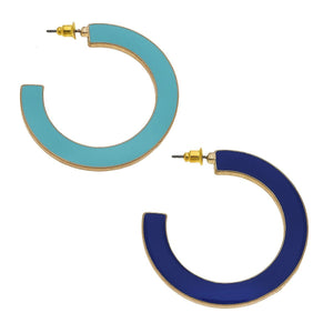 Reversible Hoop Earrings In Aqua & Navy