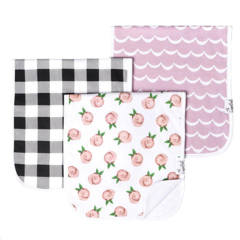 Premium Burp Cloths Set of 3 - Rosie