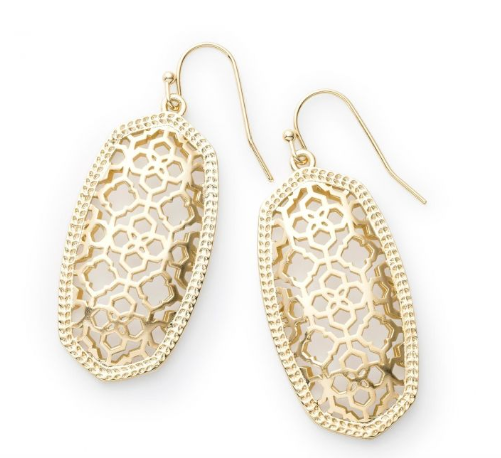Elle Earrings in Gold Filigree, Gold Plated