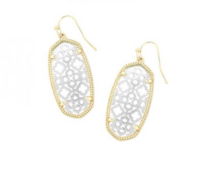 Elle Gold Drop Earrings in Rhodium Filigree Mix
