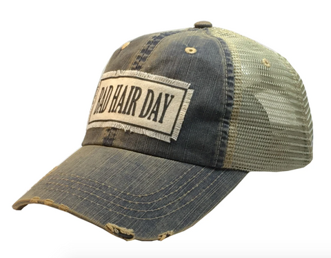 """Bad Hair Day"" Distressed Trucker Cap"