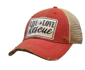 """Live Love Rescue"" Distressed Trucker Cap"
