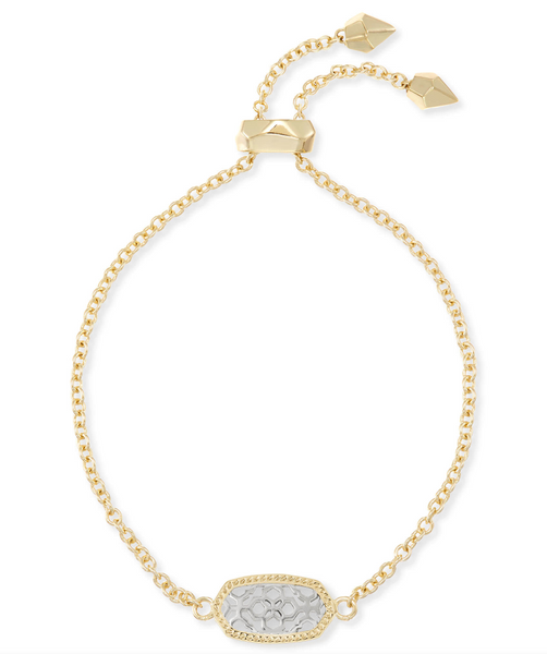 Elaina Gold Adjustable Chain Bracelet In Silver Filigree Mix
