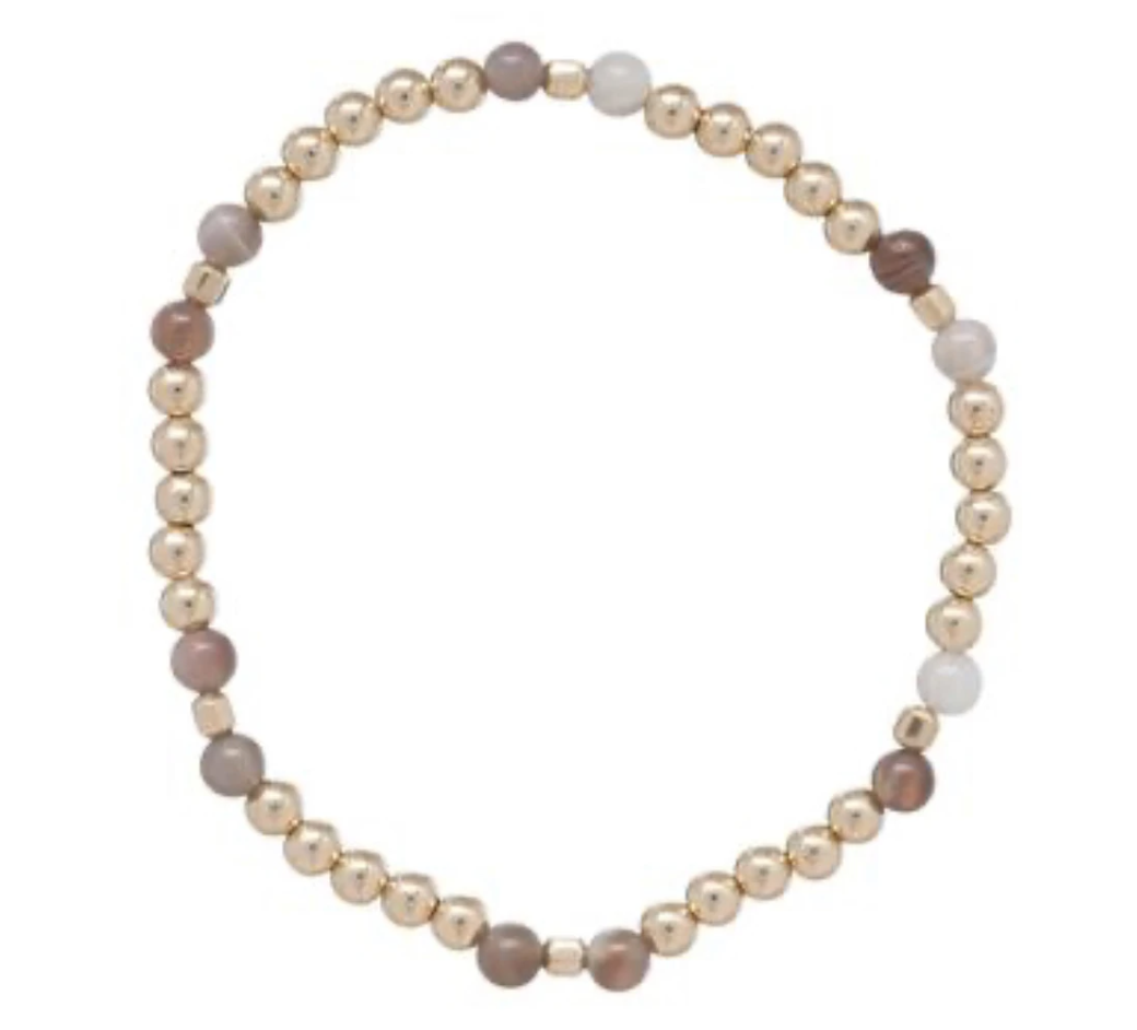 enewton Essence Pattern Gold 4mm Bracelet, Botswana Agate