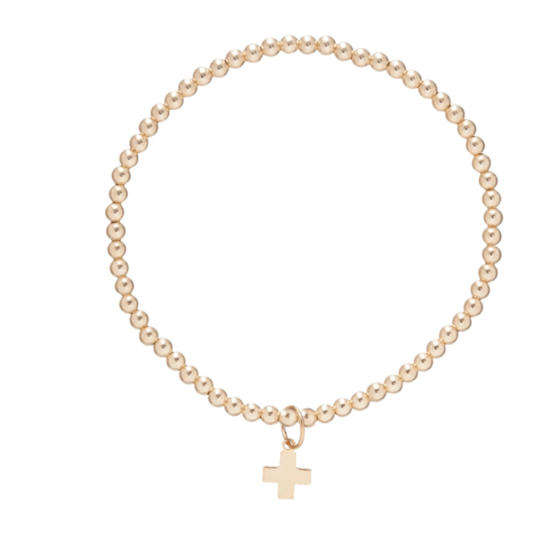 enewton Classic Gold 3mm Bead Bracelet - Signature Cross Gold Charm