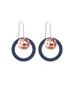 Peach Blossom Layered Circle Outline Long Drop Earring