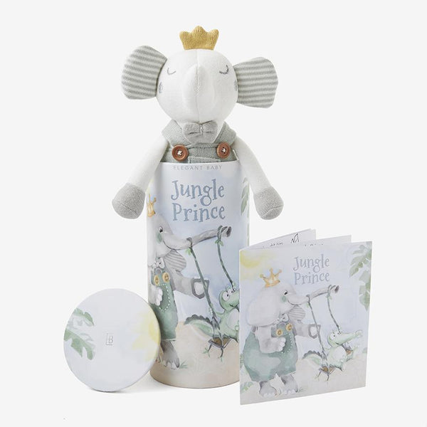 Prince Elephant Baby Boy Knit Toy with Gift Box