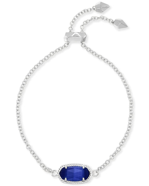 Elaina Silver Adjustable Chain Bracelet In Cobalt Cats Eye