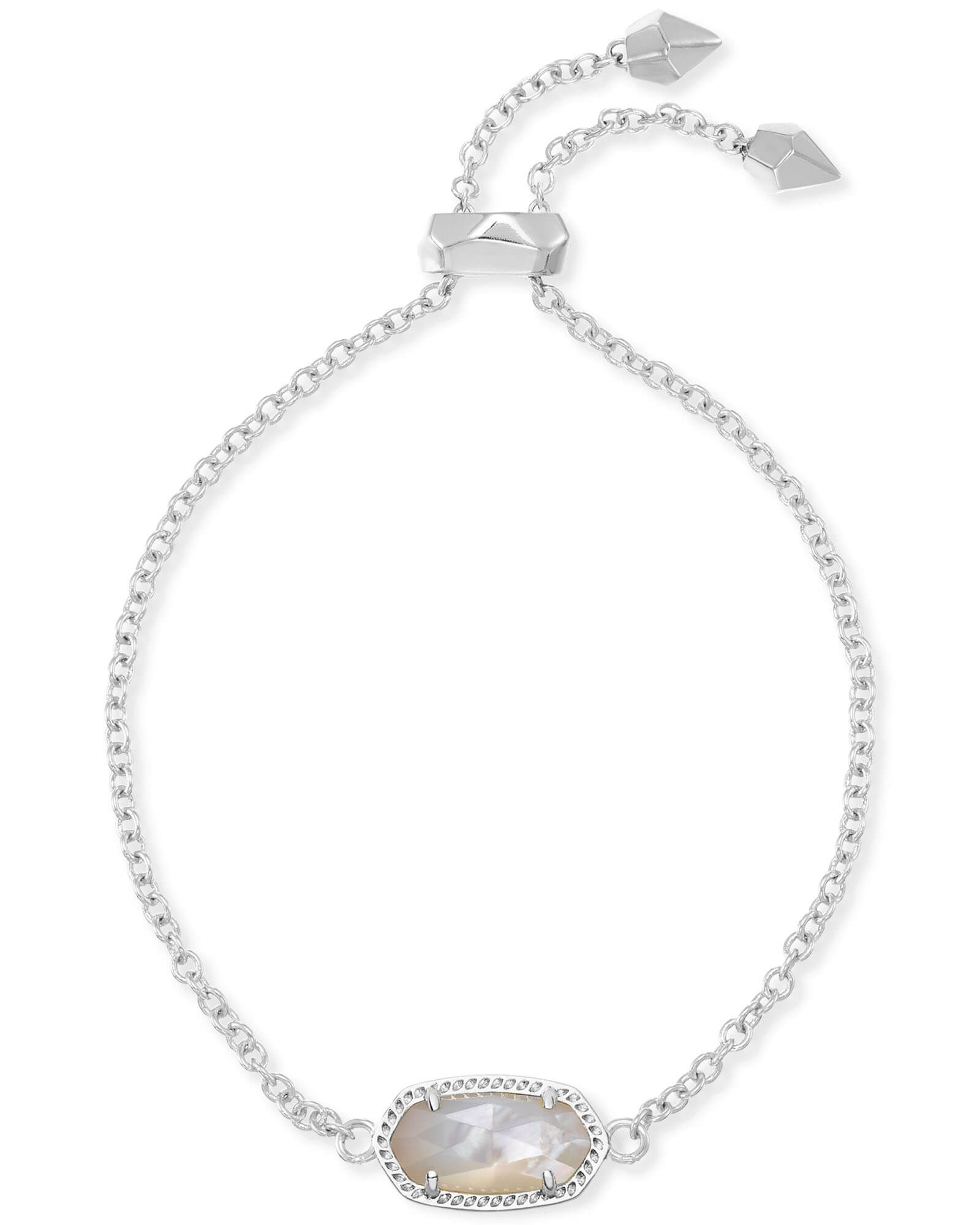 Elaina Silver Adjustable Chain Bracelet In Ivory Mother of Pearl