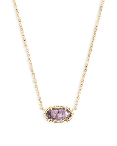 Elisa Gold Pendant Necklace In Amethyst
