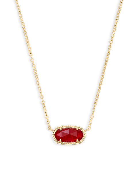 Elisa Gold Pendant Necklace In Ruby Red