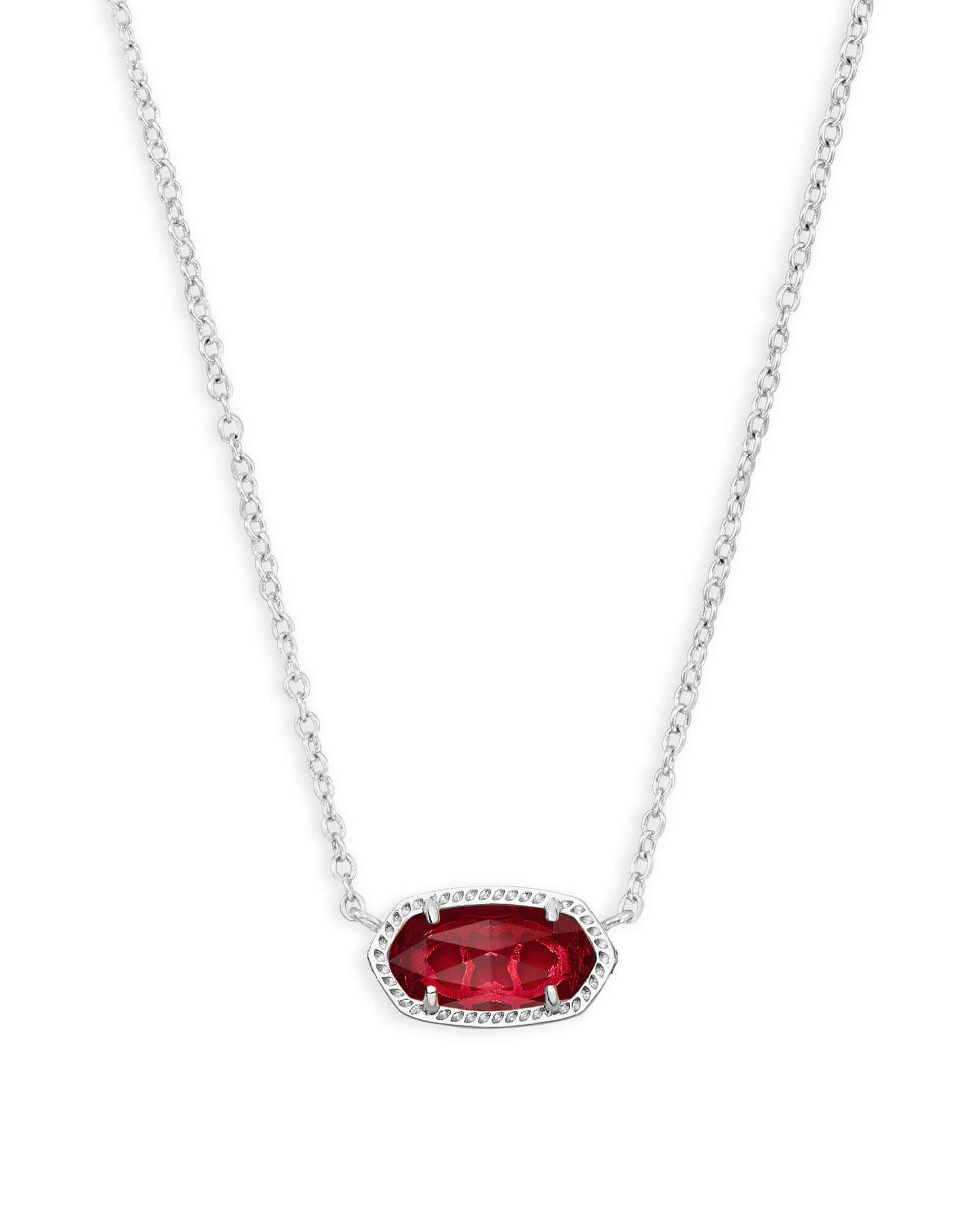 Elisa Silver Pendant Necklace In Berry Glass
