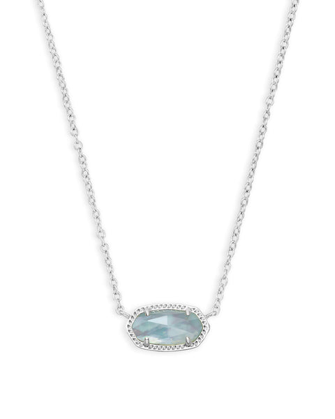 Elisa Silver Pendant Necklace In Light Blue Illusion