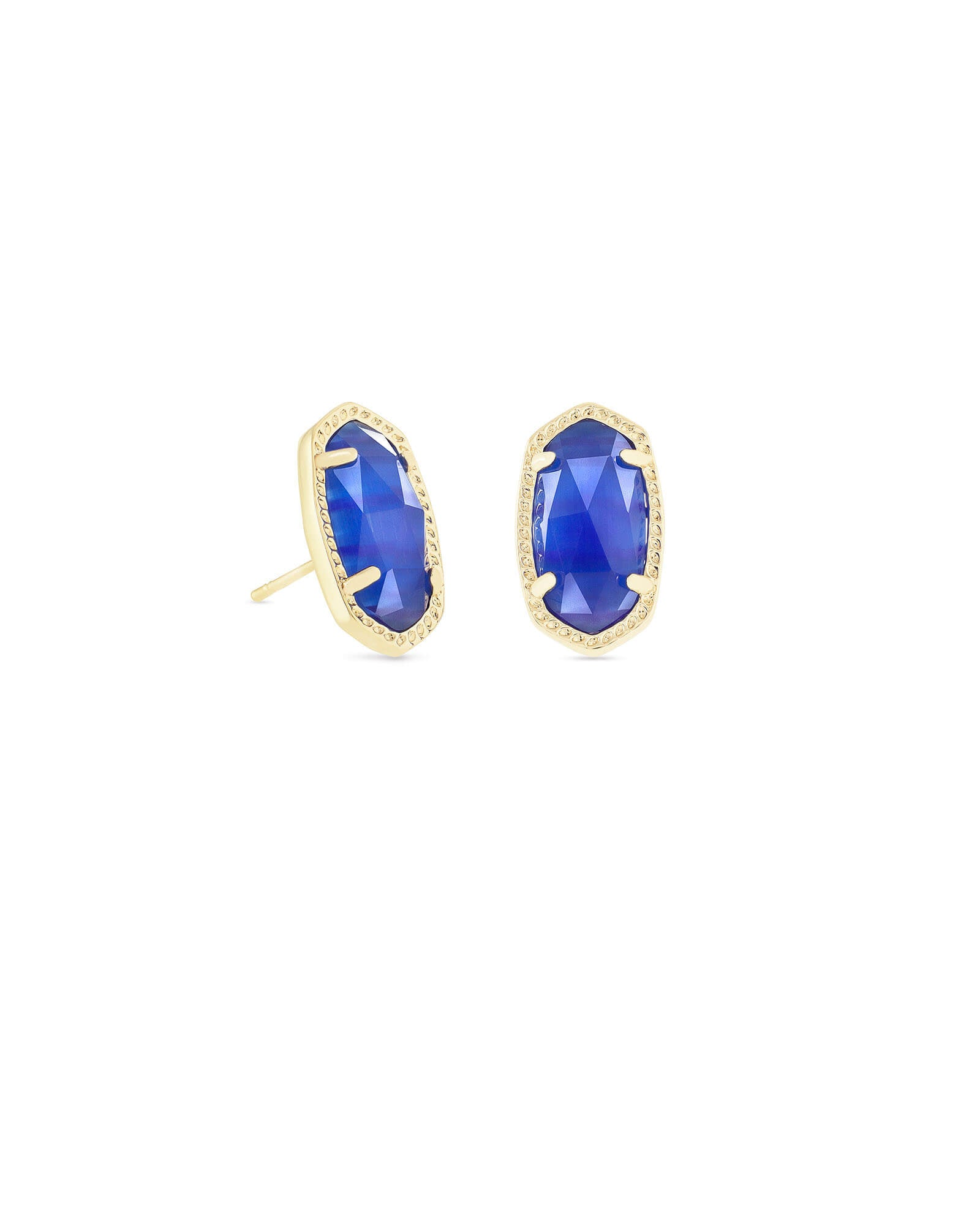 Ellie Gold Stud Earrings In Cobalt Cat's Eye