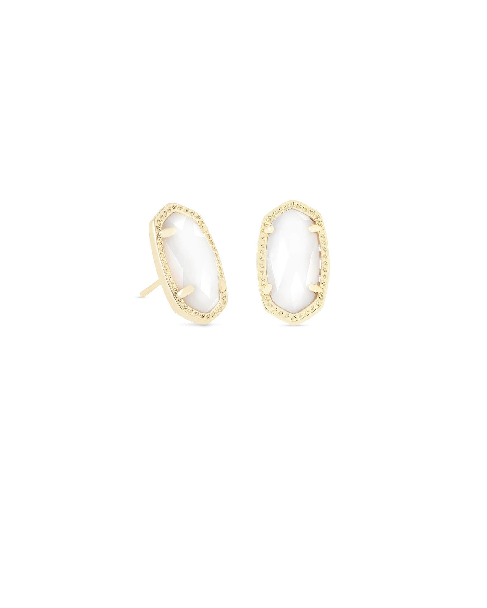 Ellie Gold Stud Earrings In Mother of Pearl