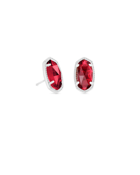 Ellie Silver Stud Earrings In Berry Glass