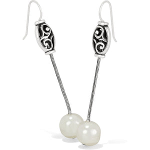 Mediterranean Pearl Long French Wire Earrings