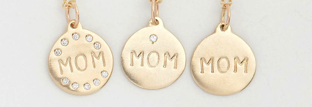 Helen Ficalora's Mom Disk Charms are one of our most popular pieces of personalized jewelry.
