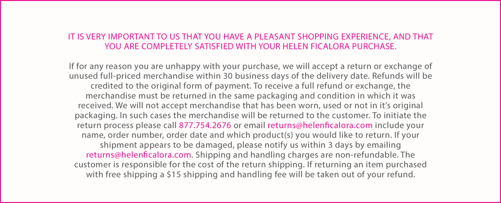 Contact returns@helenficalora.com