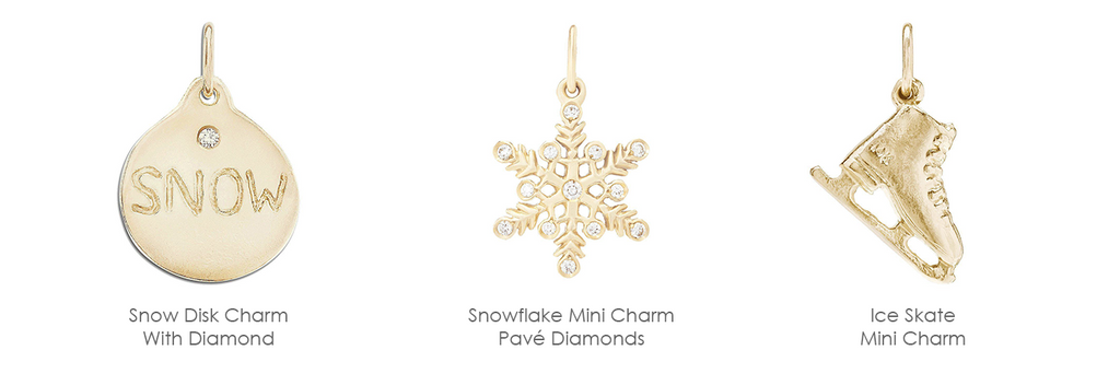 Helen's Snowflake Mini Charm Pavé Diamonds lovingly crafted in New York. Made With Solid 14k Gold. Size 12.8mm x 10.8mm. Gift Wrapped. Free Express Shipping.