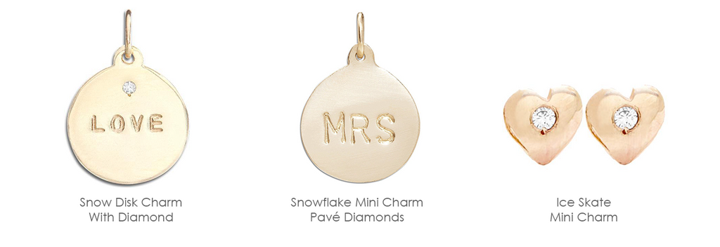 These personalized charmscan be worn on 14k gold bracelets and necklaces, paired with other golden mini charms.