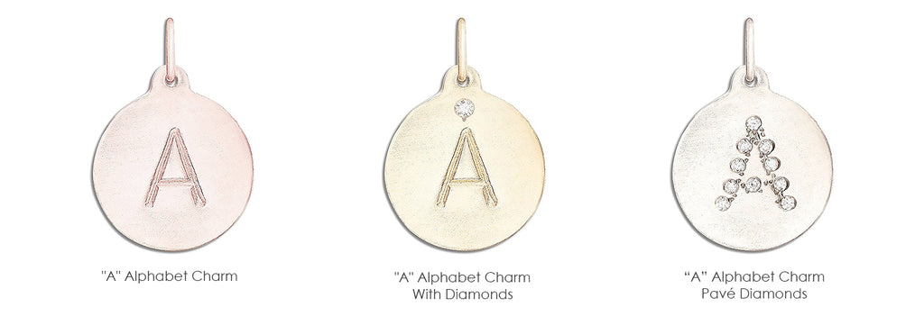 """""""A"""" Alphabet Charm. """"A"""" Alphabet Charm With Diamond"""" """"A"""" Alphabet Charm Pave Diamonds. Alphabet necklace get any letter or your initial on a 14k gold charm."""