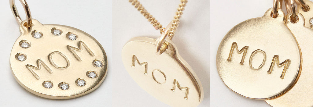 The Mom Disk Charm can be worn on 14k gold bracelets and necklaces, paired with other golden mini charms.