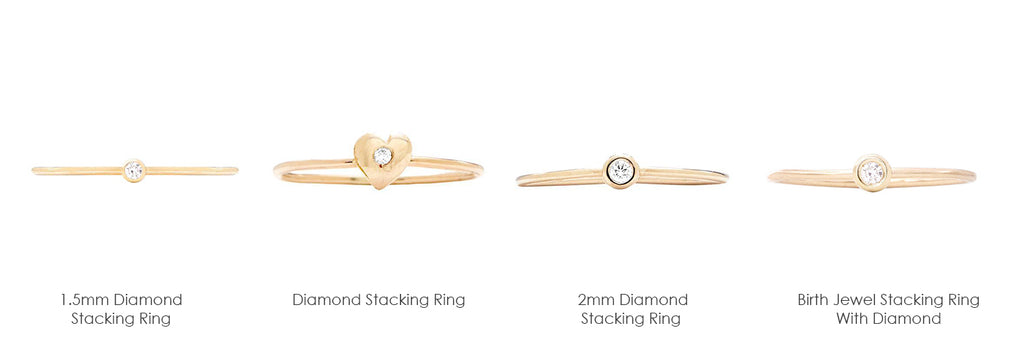These rings come in various sizes, including 1.5mm diamond ring as well as the 2mm diamond ring. They also come in the form of a birth jewel stacking ring which can be worn by April babies. These dainty diamond rings come in 14k yellow gold, white gold, rose gold and sterling silver. Make your pick!
