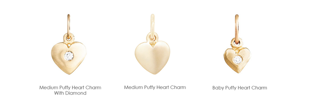 Helen's Medium Puffy Heart Charm With Diamond lovingly crafted in New York. Made With Solid 14k Gold. Size 9.5mm x 8mm. Gift Wrapped. Free Express Shipping.