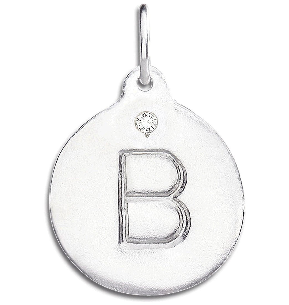 """B"" Alphabet Charm With Diamond - Sterling Silver And 14k Yellow Gold - Jewelry - Helen Ficalora - 4"
