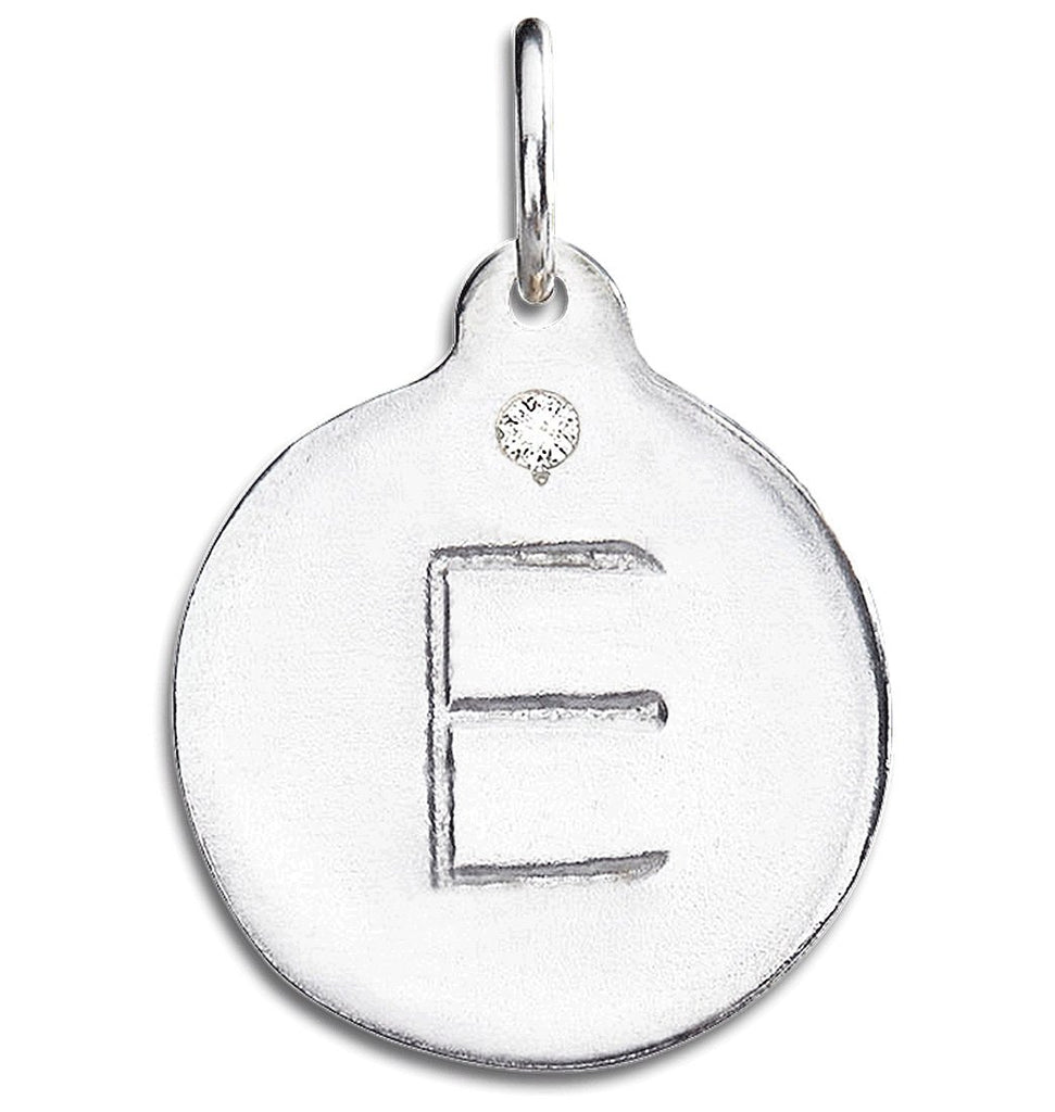 """E"" Alphabet Charm With Diamond - Sterling Silver And 14k Yellow Gold - Jewelry - Helen Ficalora - 4"