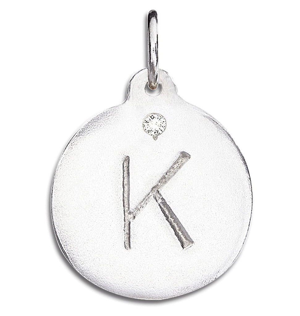 """K"" Alphabet Charm With Diamond - Sterling Silver And 14k Yellow Gold - Jewelry - Helen Ficalora - 4"