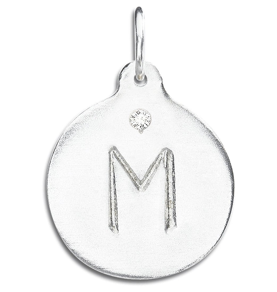 """M"" Alphabet Charm With Diamond - Sterling Silver And 14k Yellow Gold - Jewelry - Helen Ficalora - 4"