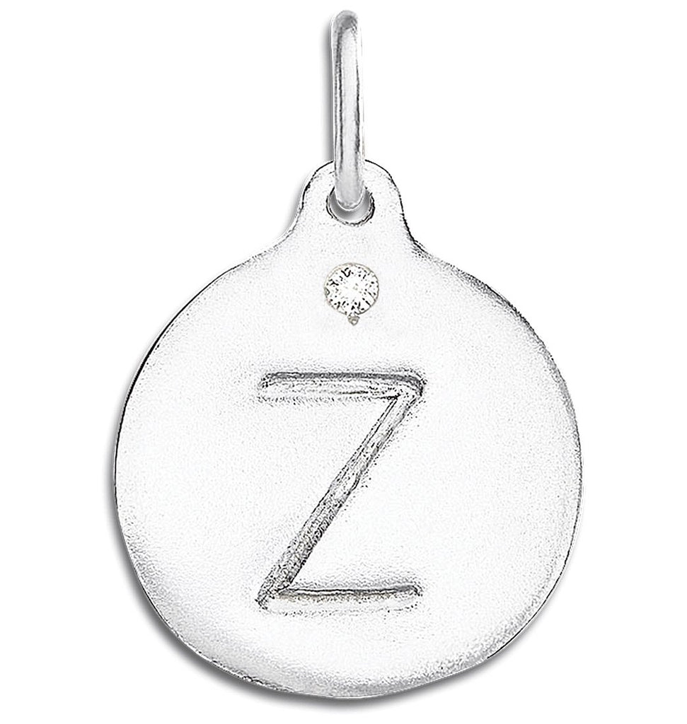 """Z"" Alphabet Charm With Diamond - Sterling Silver And 14k Yellow Gold - Jewelry - Helen Ficalora - 4"
