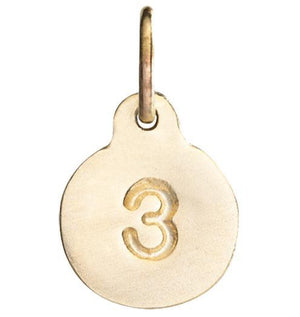 """3"" Number Charm Jewelry Helen Ficalora 14k Yellow Gold"